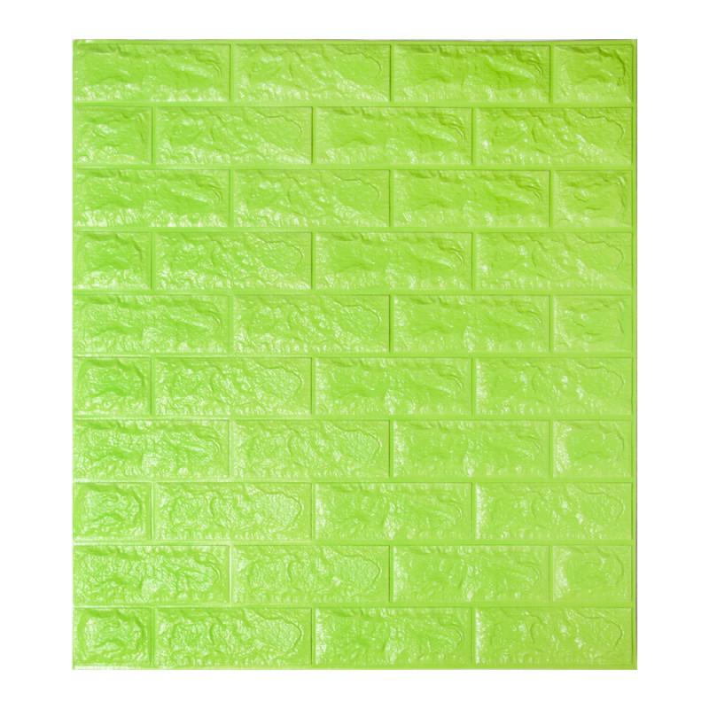 Самоклеящаяся декоративная 3D панель под зеленый кирпич 700x770x7мм (самоклейка, Мягкие 3D Панели)
