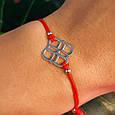 Браслет красная нить на руку с серебряным амулетом, фото 4