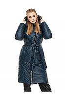 ✔️ Зимнее пальто пуховик молодежное с поясом 44-54 размера изумрудное
