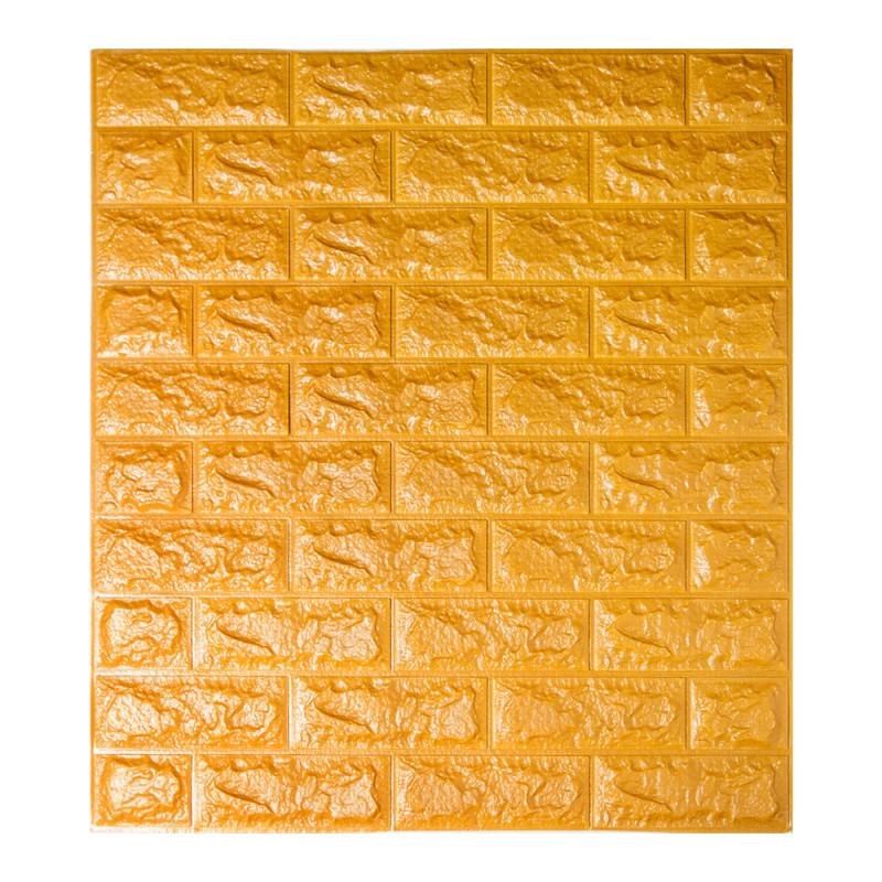 Самоклеящаяся декоративная 3D панель под кирпич золото 700x770x7мм (самоклейка, Мягкие 3D Панели)