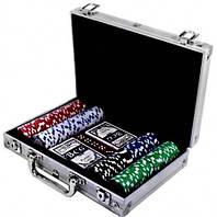 Набір для гри в покер в алюмінієвому кейсі (300 фішок, дві колоди карт) з номіналом, фото 1