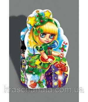 Картонная упаковка для конфет, Карнавальный костюм Елка, 600 гр, Новогодняя упаковка для конфет, 15х27х7,5 см
