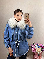 Женская теплая джинсовая парка с мехом производство Китай