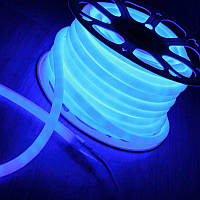 Синий Светодиодный Гибкий Неон LED FLEX 220V 360° ip68 круглый