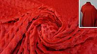 Ткань Minky плюш (минки дот) красного цвета с пупырышками, фото 1