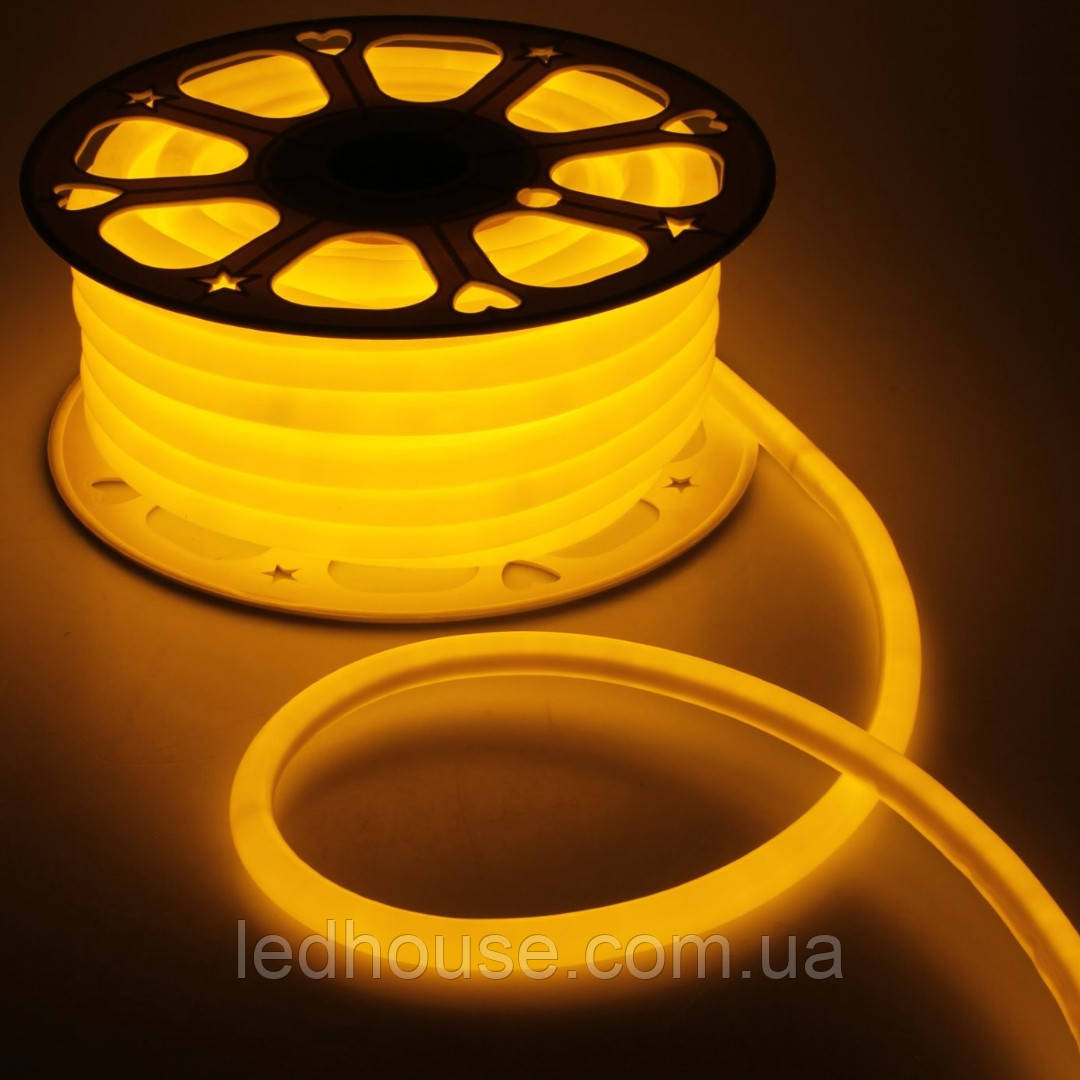 Оранжевый Светодиодный Гибкий Неон LED FLEX 220V 360° ip68 круглый