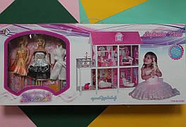 66884 Большой двухэтажный домик для кукол с террасой  три куклы, коробка 83,5*36*14,5 см