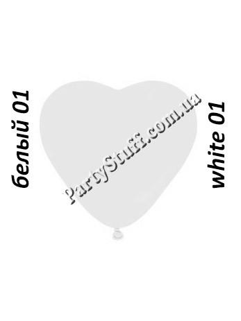 шарики в форме сердца белого 6 дюймов