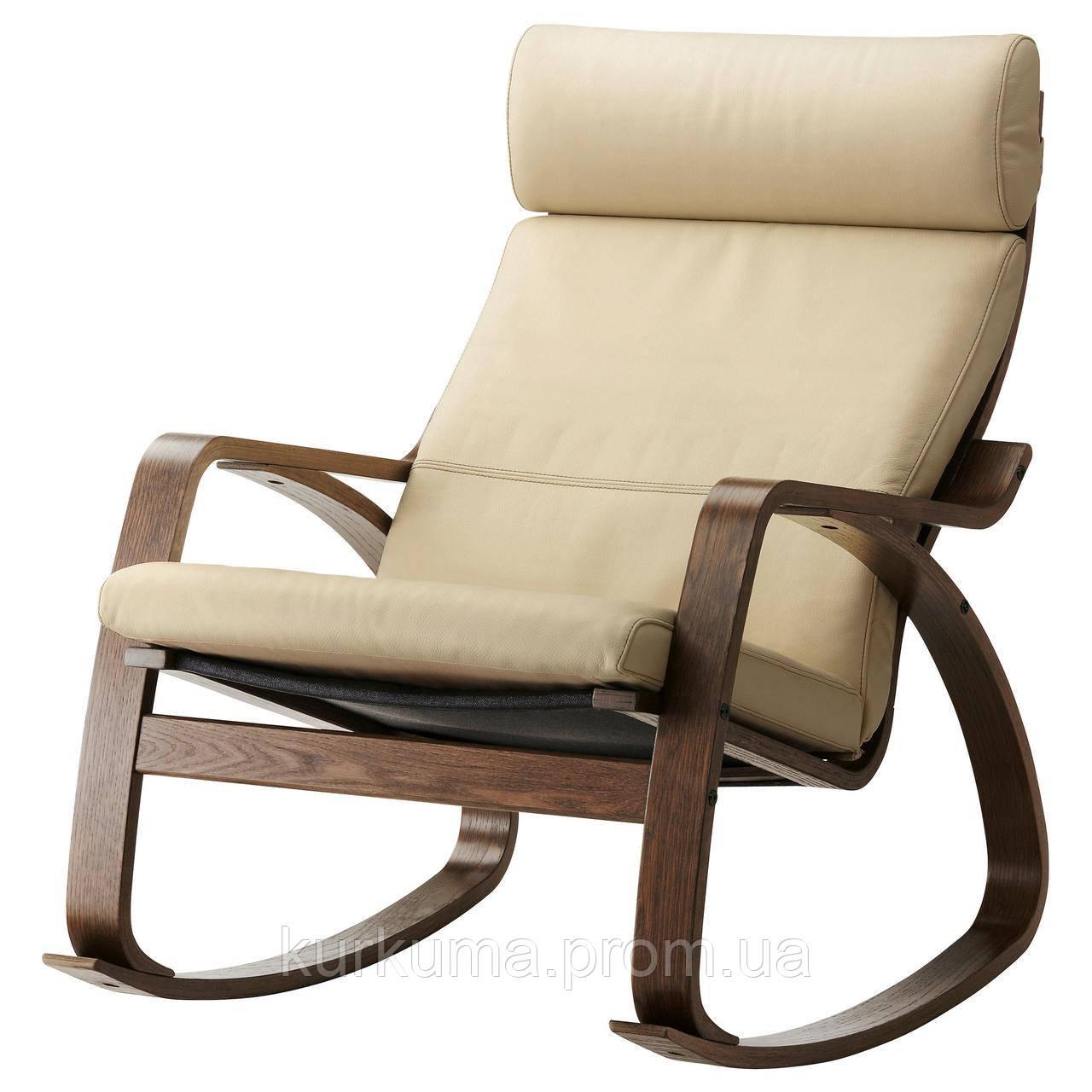 IKEA POANG Кресло-качалка, коричневый, голос надежный с белым  (499.008.67)