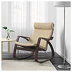 IKEA POANG Кресло-качалка, коричневый, голос надежный с белым  (499.008.67), фото 2