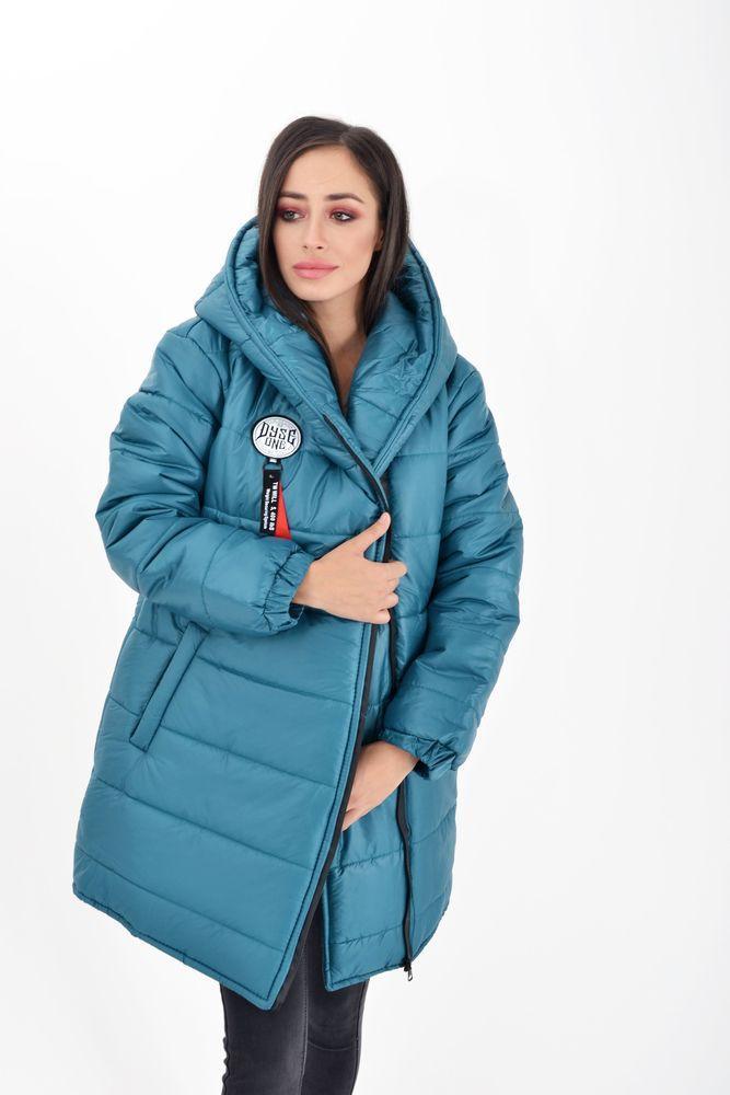 Куртка женская длинная 111R003 цвет Лазурный