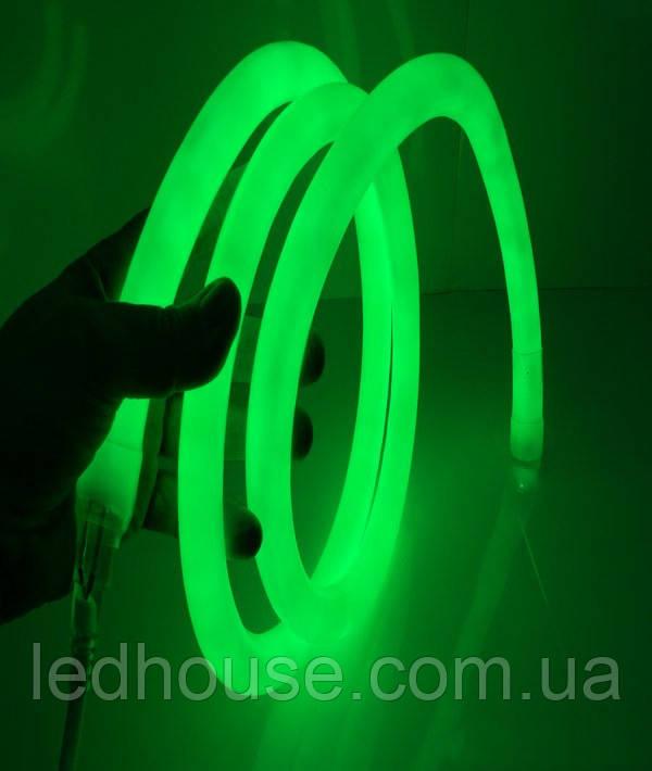 Зеленый Светодиодный Гибкий Неон LED FLEX 220V 360° ip68 круглый