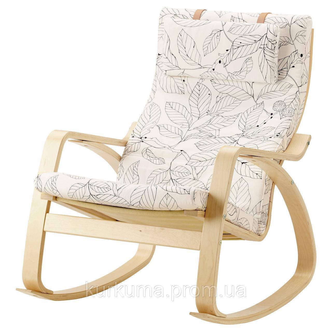 IKEA POANG Кресло-качалка, березовый шпон, Висланде черный/белый  (491.812.64)