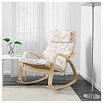 IKEA POANG Кресло-качалка, березовый шпон, Висланде черный/белый  (491.812.64), фото 2