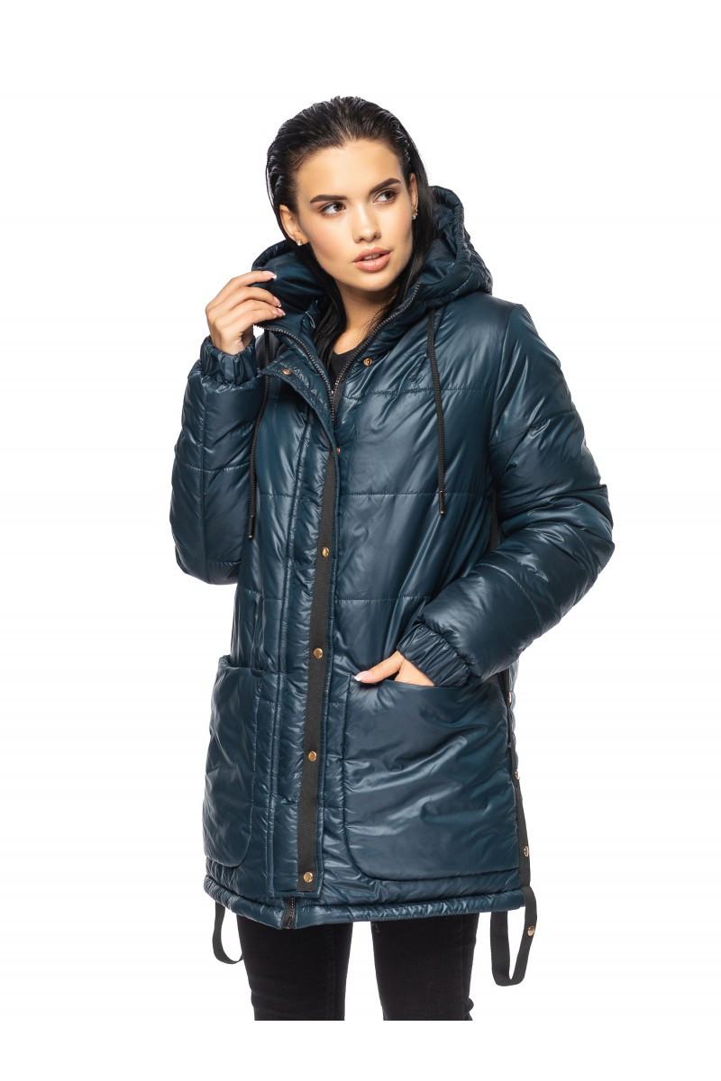 ✔️ Зимнее объемная куртка прямого кроя очень теплая 44-56 размера изумрудная, фото 1