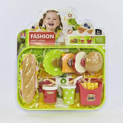 326-28 Набор продуктов Фаст-фуд Бургер, картошка фри на листе, фото 2