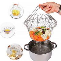 🔥✅ Складной дуршлаг Magic Kitchen Deluxe Chef Basket, складная решетка для сушки Шеф Баскет