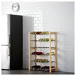 IKEA IVAR Стеллаж с полкой для бутылок, сосна, серая  (491.335.79)