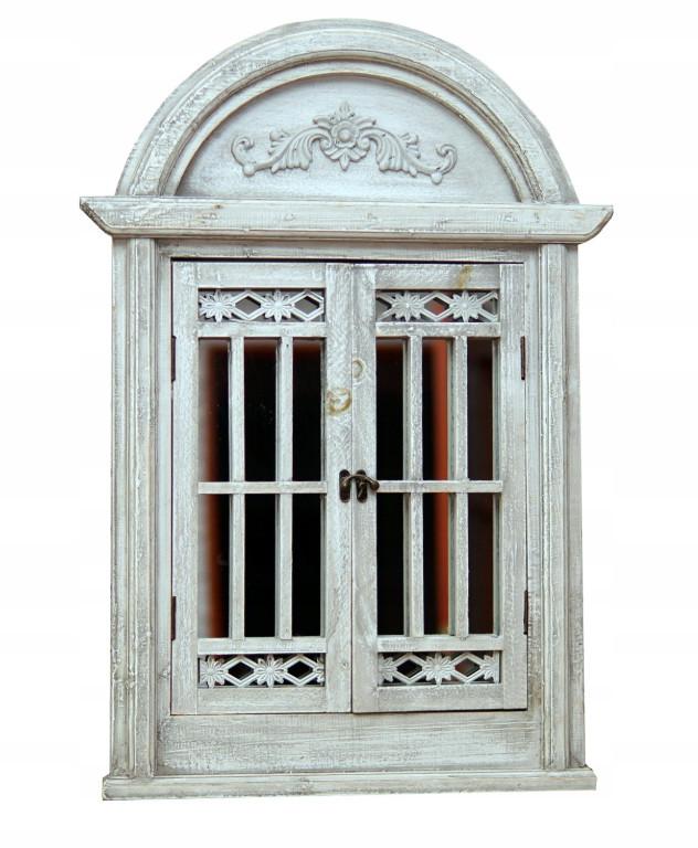 Зеркало в классическом стиле со ставнями Серое 553