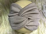 Широкая повязка-чалма трикотажная цвет светло серая, фото 3