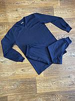 Термобелье комплект мужской синий зимний теплый на флисе Intruder. Бафф флисовый в подарок