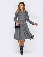 Теплое платье серое миди с расклешенной юбкой 44 46 48 50 52 54