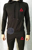 Теплый мужской спортивный костюм с капюшоном (флис) Reebok