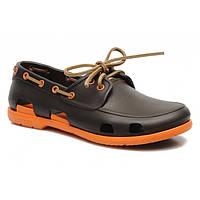 Мокасины Crocs мужские Beach Line Boat Shoe коричневые 42 разм.
