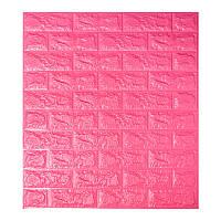 Самоклеящаяся декоративная 3D панель под темно-розовый кирпич 700x770x7мм (самоклейка, Мягкие 3D Панели)