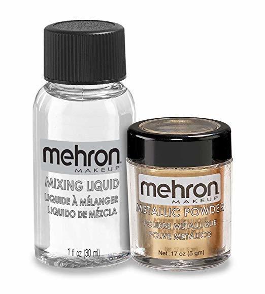 MEHRON МЕТАЛЕВА ПУДРА-ПОРОШОК З РІДИНОЮ ДЛЯ ЗМІШУВАННЯ, ЗОЛОТО METALLIC POWDER x MIXING LIQUID GOLD