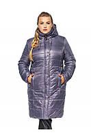 ✔️ Зимнее теплое пальто пуховик большого размера 52-62 сиреневое