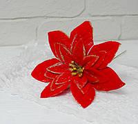 Цветок пуансетии красной с блестками на ножке, фото 1