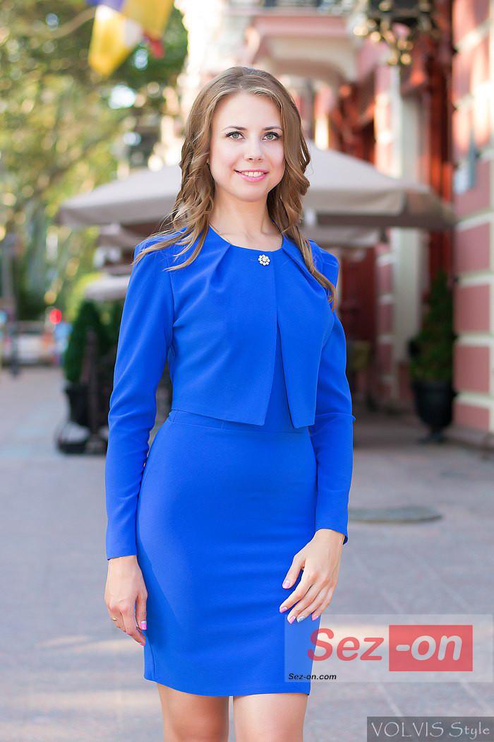 Костюм жіночий плаття і короткий піджак ― Синій