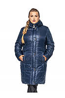 ✔️ Зимнее теплое пальто пуховик большого размера 52-62 синее