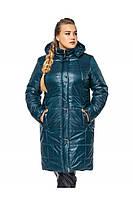 ✔️ Зимнее теплое пальто пуховик большого размера 52-62 изумрудное