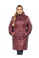 ✔️ Зимнее теплое пальто пуховик большого размера 52-62 бордовое