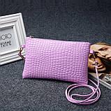 Лаковая сумочка-клатч с ремешком через плечо сиреневая, фото 3
