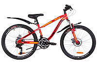 "Велосипед 24"" Discovery FLINT AM 14G  DD  рама-13"" St красно-оранжевый  с крылом Pl 2019"