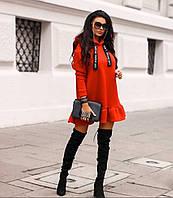 Модное теплое женское платье трехнить