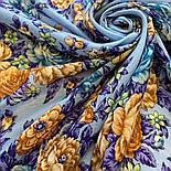 Цветы для души 1870-13, павлопосадский платок шерстяной (разреженная шерсть) с швом зиг-заг, фото 6