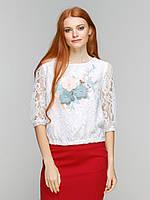 Гипюровая блузка с кружевной аппликацией
