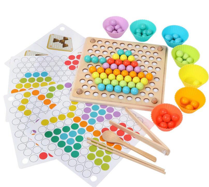Деревянная развивающая игрушка мозаика с набором инструментов Bead Holder