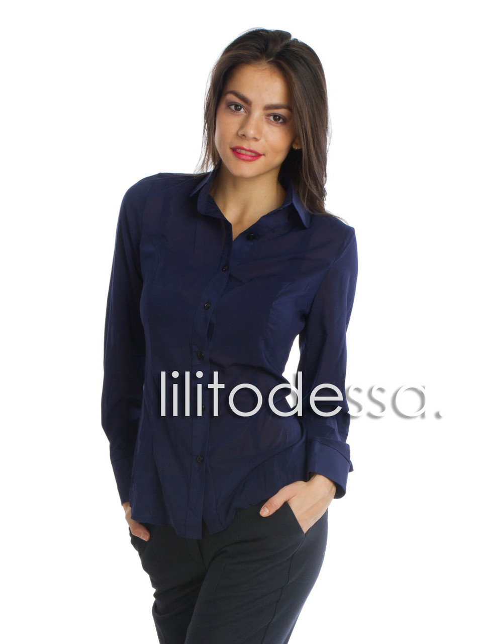 Блуза с круглым воротником темно-синий до 50р