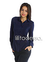 Блуза с круглым воротником темно-синий до 50р, фото 1