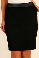 Черная короткая юбка карандаш с кожаным поясом 42-48 р