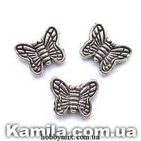 """Металл. бусина """"бабочка"""" серебро (1,6 х 0,9 см) 30 шт в уп."""