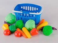 """Игрушечная корзина с набором """"Овощи"""" для игры в супермаркет."""