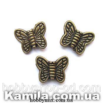 """Металл. бусина """"бабочка"""" бронза (1,6 х 0,9 см) 30 шт в уп."""