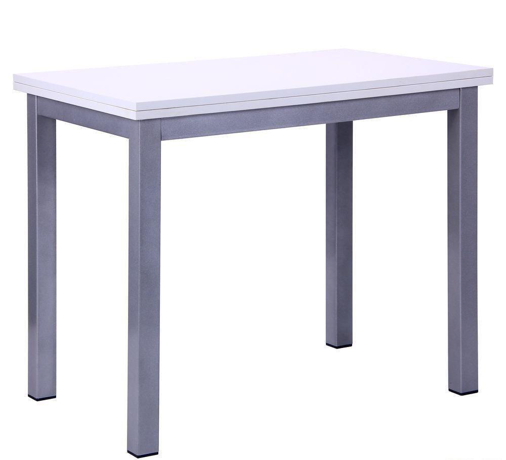 Стол обеденный раскладной Кадис алюм/Меламин белый глянец, TM AMF