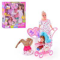 Кукла DEFA 8049 (36шт) с нарядом,беремен,ребенок,аксесс,коляска,собака,2 видав кор-ке, 35-34,5-6см